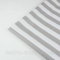 Лоскут ткани №1347 с широкой серой полоской 25 мм на белом