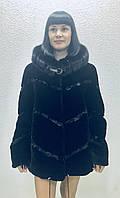 Шуба женская натуральная мутоновая короткая черная с капюшоном, фото 1