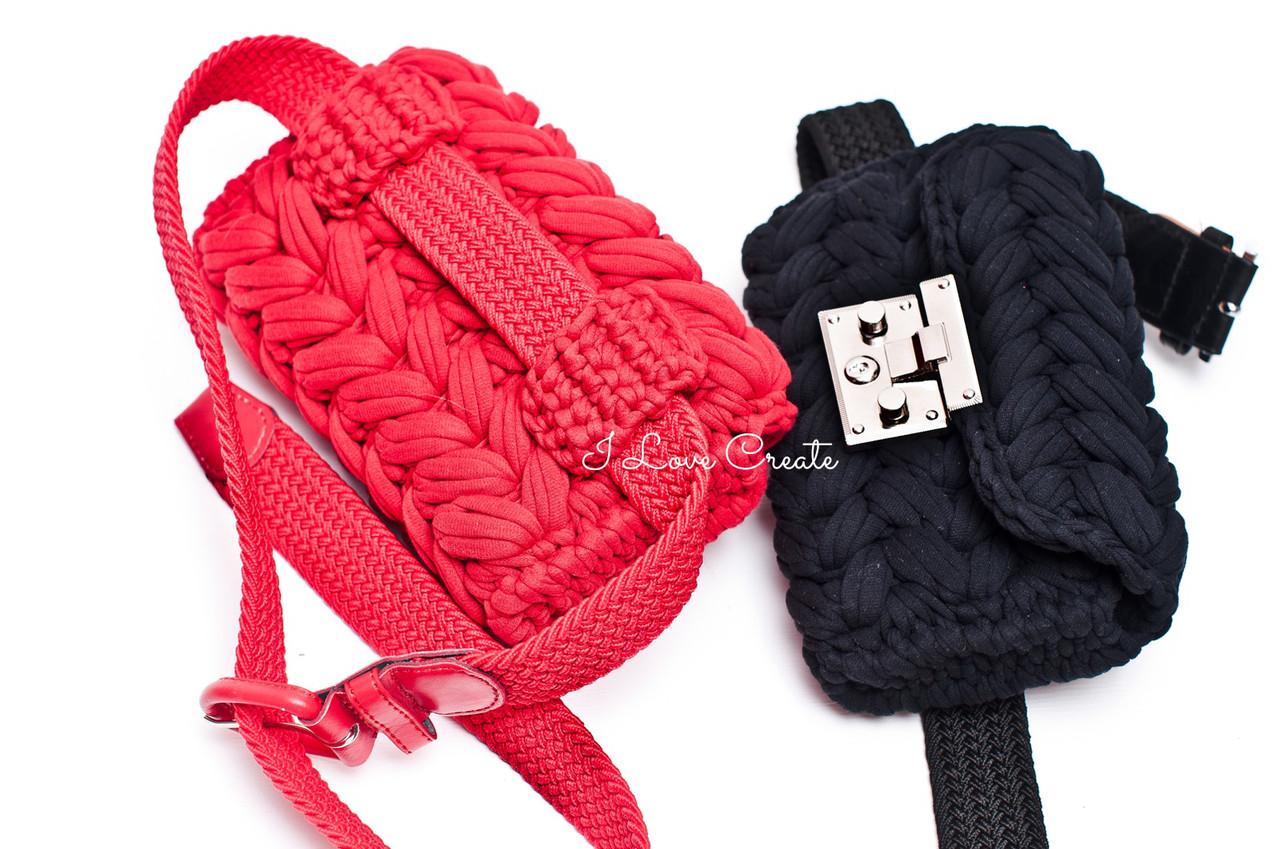 35713cbfb7b8 Вязаная поясная сумка Zeffirka из трикотажной пряжи с поясом - Вязанные  сумки, схемы и видео