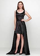 Женский атласный костюм с юбкой в пол черный