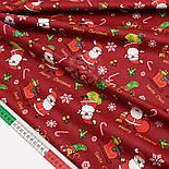"Сатин ткань ""Санта Клаус с подарками"" на красном № 1446, фото 3"