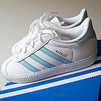 Детские кожаные кроссовки Adidas Gazelle I white/ice blue. Лимитированная серия. US 9.5