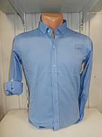 Рубашка мужская YG  длинный-короткий рукав, мелкий узор 004\ купить рубашку