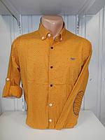 Рубашка мужская YG  длинный-короткий рукав, заклепки, налокотники, мелкий узор №01,08,03 001\ купить рубашку