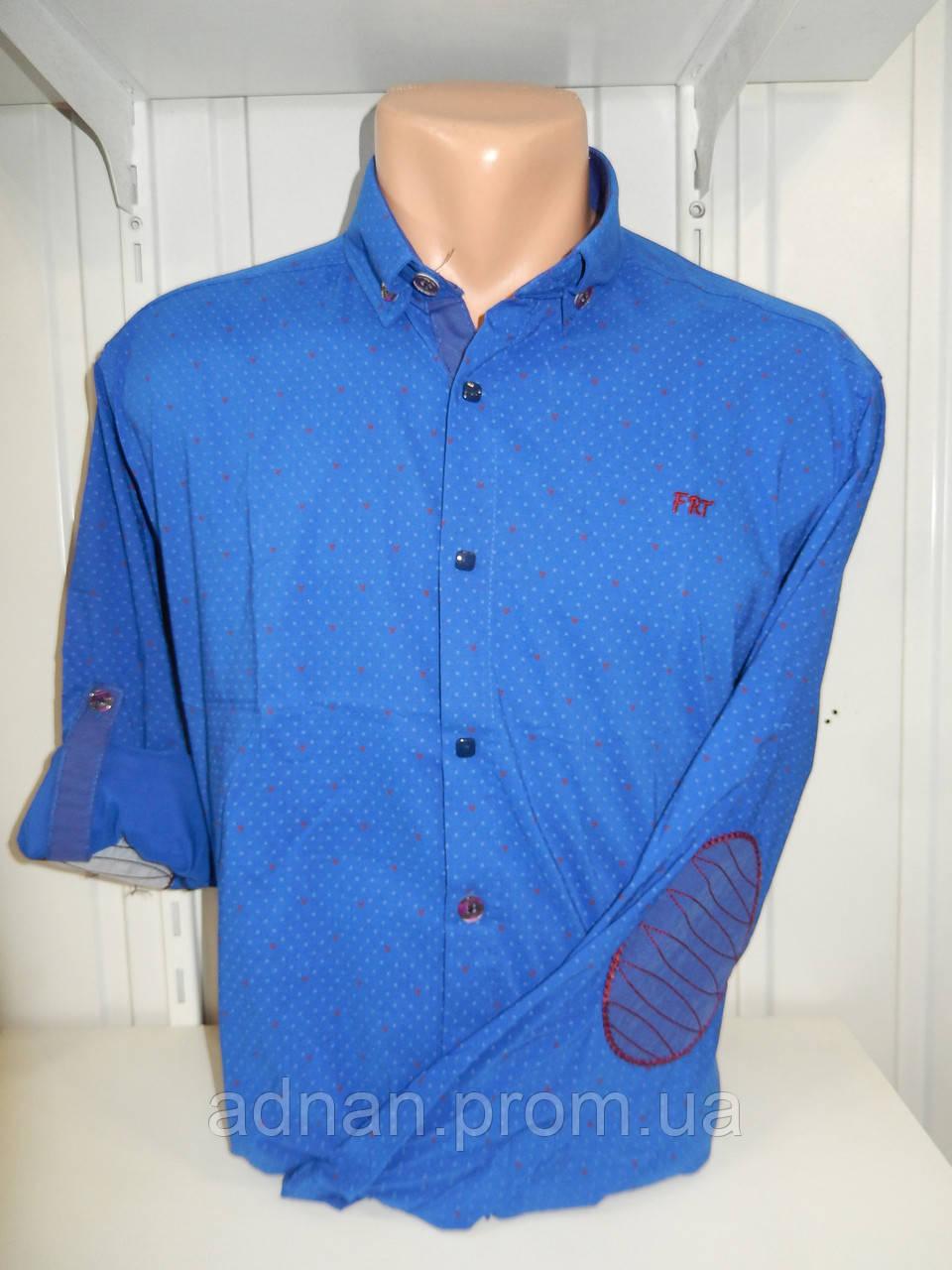 Рубашка мужская YG  длинный-короткий рукав, заклепки, налокотники, мелкий узор №01,08,03 002\ купить рубашку