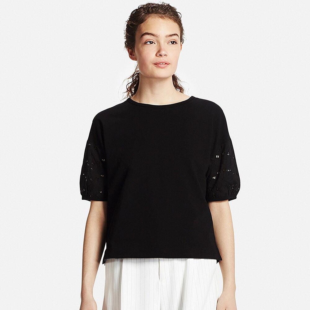 Футболка Uniqlo Women Embroidery Half Sleeve BLACK