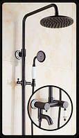 Душевая стойка черная для ванной со смесителем лейкой и тропическим душем 0612