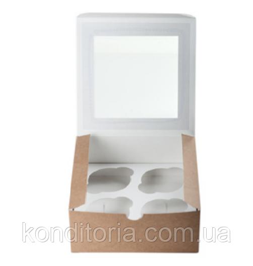 Коробка для капкейков (на 4 шт) с окошком крафт 16,5*16,5**8