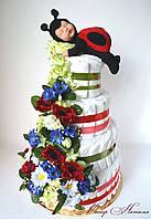 "Торт з памперсів ""Маківка"" 120 штук з сонечком Анна Геддес"