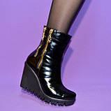 Женские кожаные демисезонные ботинки на платформе, декорированы замками, фото 4
