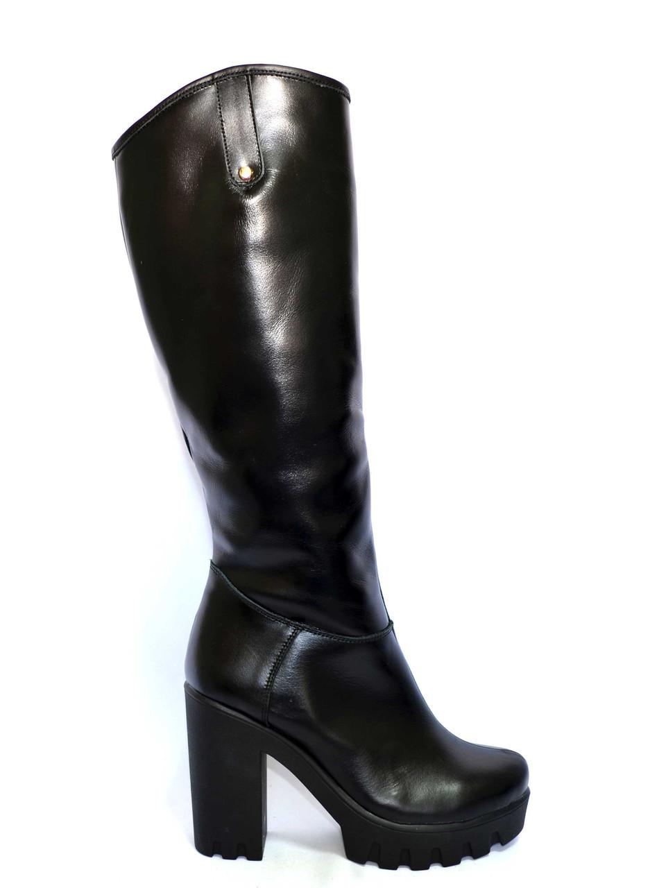 Женские  зимние сапоги на высоком каблуке, натуральная кожа