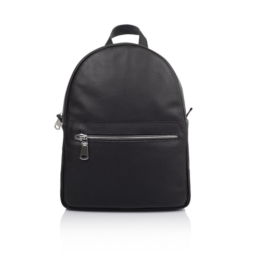 Красивый кожаный рюкзак черного цвета