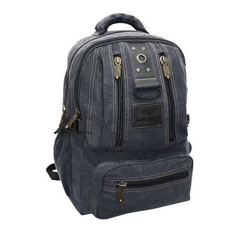 Рюкзак GOLDBE брезентовый 30х43х16 чёрный  кс1304чб , фото 2