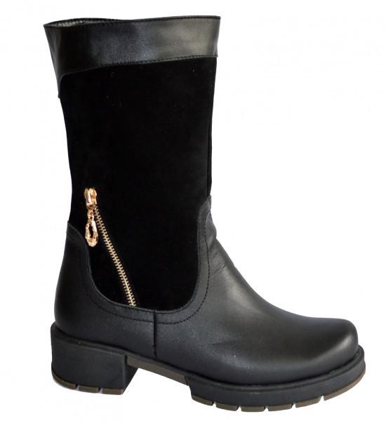Демисезонные женские ботинки, из натуральной кожи и замши, на устойчивом каблуке