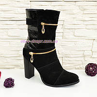 Ботинки женские демисезонные, из натуральной замши черного цвета, на устойчивом каблуке, фото 1
