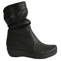 Женские зимние кожаные ботинки на танкетке., фото 1
