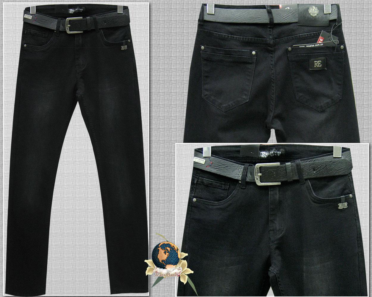 Джинсы мужские классические зауженные чёрного цвета с ремнём