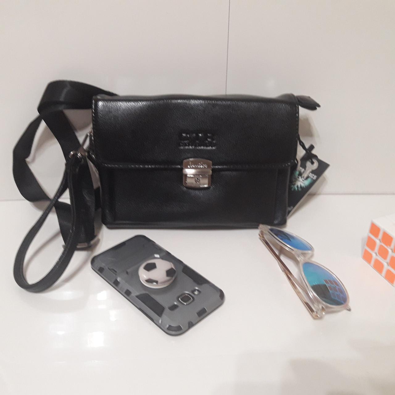 Мужская сумка барсетка 24 х 17 х 7 см черная городская искусственная кожа
