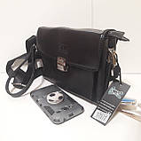 Мужская сумка барсетка 24 х 17 х 7 см черная городская искусственная кожа, фото 5