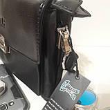 Мужская сумка барсетка 24 х 17 х 7 см черная городская искусственная кожа, фото 6