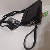 Мужская сумка барсетка 24 х 17 х 7 см черная городская искусственная кожа, фото 7