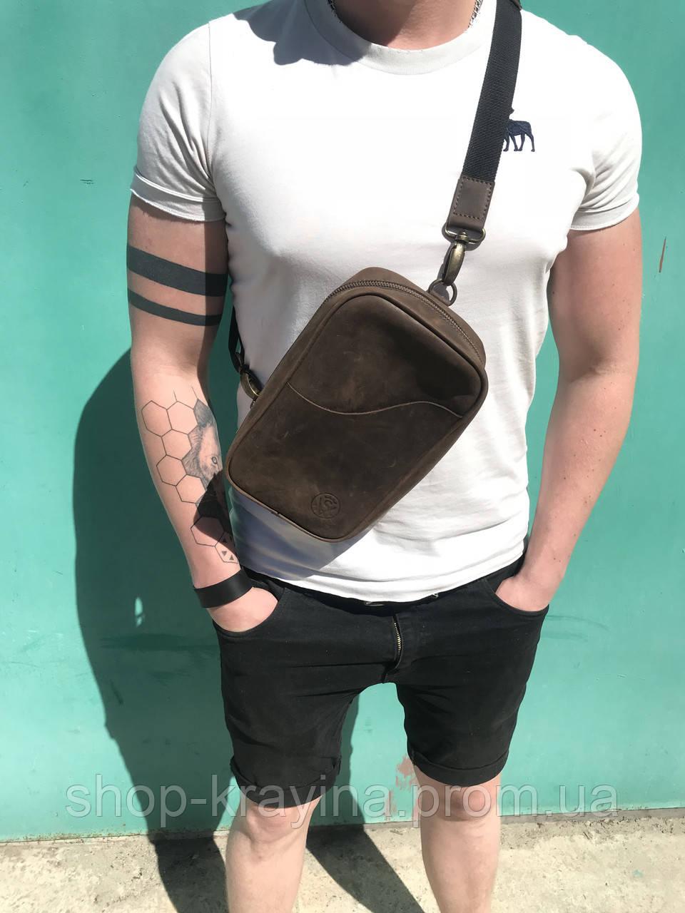Мужская стильная сумка VS005  Crazy horse brown 26х16х8 см