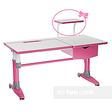 Парта-трансформер для школяра FunDesk Ballare Pink з висувним ящиком