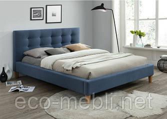 Двоспальне ліжко з мякою оббивкою Texas 160 denim Signal