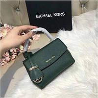 Женская сумка, клатч, Майкл Корс Ава, 18 см, кожаная, цвет изумрудный