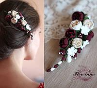 """""""Элегантный бордо"""" Заколка для волос с цветами.Украшение в прическу., фото 1"""