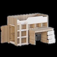 Кровать-чердак 2 с матрасом сонома + белый Эверест (193х96х137 см)