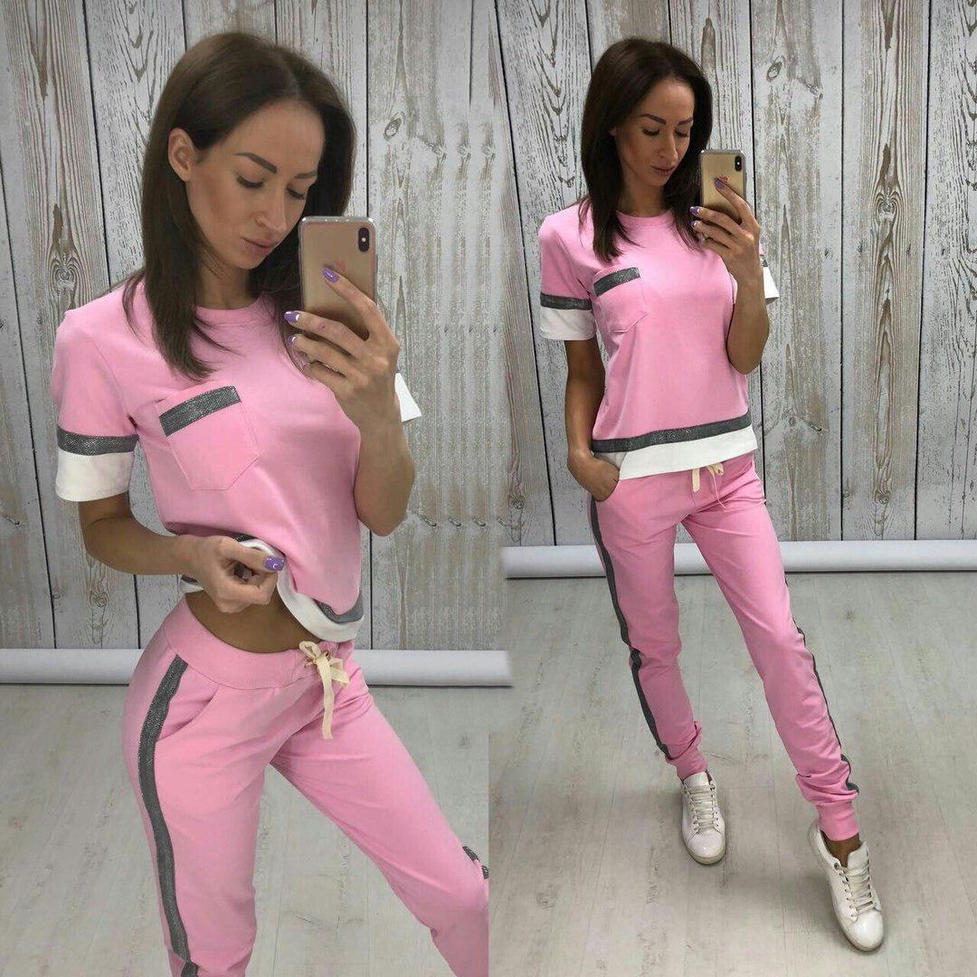Женский спортивный костюм с коротким рукавом мод.549