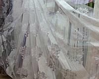 """Тюль Штора органза с тканевым принтом """"Вензель-Дамаск"""" молочная, высота 3 м, фото 1"""