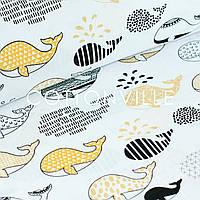 ✁ Отрезы хлопковой ткани Киты желтые/бежевые, фото 1