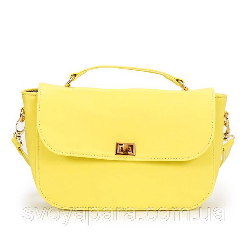 Женский клатч сумка желтая из экокожи (10-18)