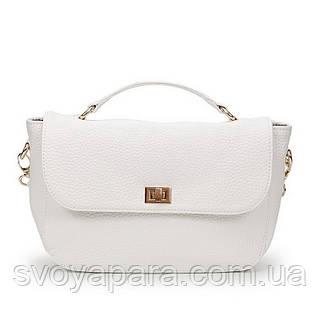 Клатч женская сумочка из высококачественной экокожи флотар белого цвета с тремя основными отделениями