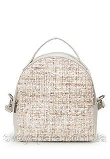 Клатч женская сумочка из высококачественной экокожи с тканью букле бежевого цвета с одним основным отделением