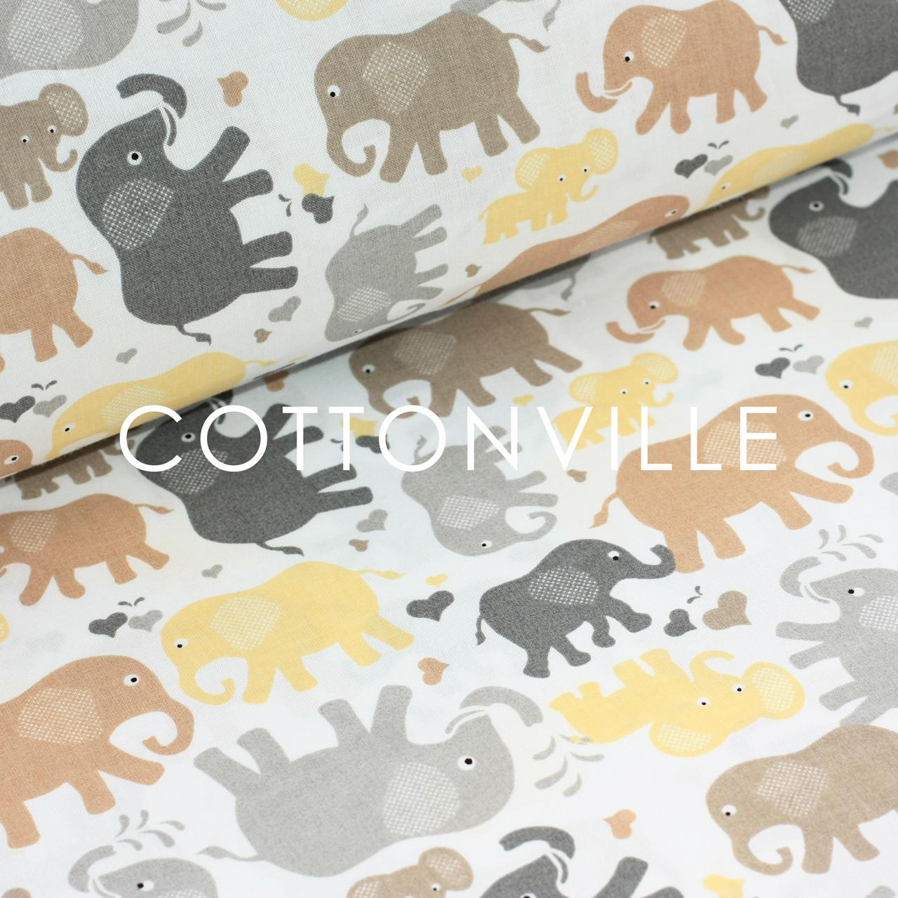 ✁ Отрезы детской ткани Слоники серо-коричневые
