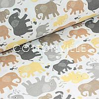 ✁ Отрезы детской ткани Слоники серо-коричневые, фото 1