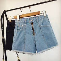Джинсовые шорты с высокой талией на молнии светло синие, фото 1