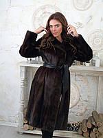 Норковая коричневая шуба с  48 50 разрезом под пояс кожаный