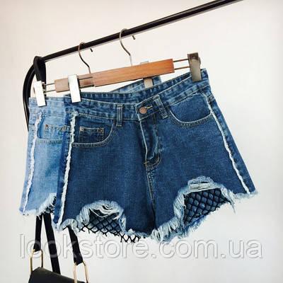 Джинсовые шорты с высокой талией и сеткой синие