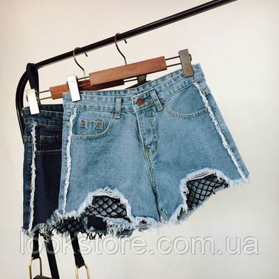 Джинсовые шорты с высокой талией и сеткой голубые
