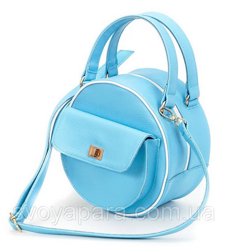 Женская сумка круглая из высококачественной экокожи флотар бирюзового цвета с одним основным отделением
