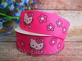"Лента репсовая ""Hello Kitty"" малиновый, 2,5 см."