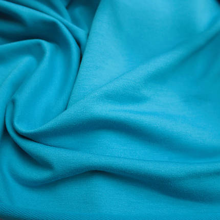 Трикотаж футер двунитка голубая бирюза, фото 2
