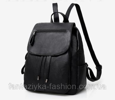 Рюкзак городской черный с клапаном