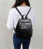 Рюкзак городской черный с клапаном, фото 8
