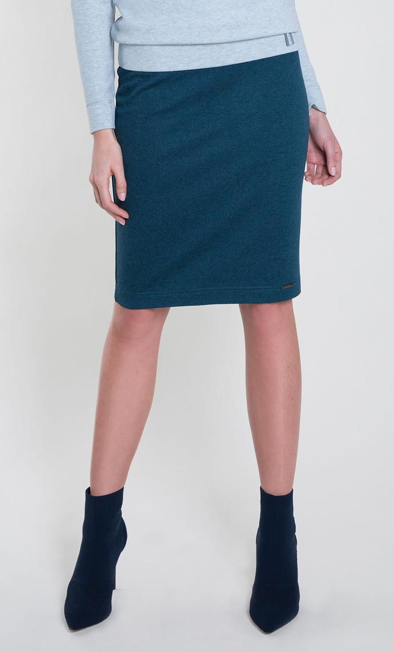 Женская трикотажная юбка изумрудного цвета. Модель Stella Zaps. Размер 3XL