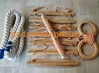 Детский набор навесного (оранжевый) ; канат, гимнастические кольца, лестница для шведской стенки